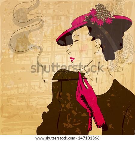 Retro, vintage, grunge illustration of elegant, stylish woman - stock photo