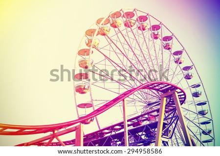 Retro vintage instagram stylized amusement park. - stock photo