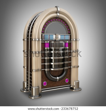 Retro vintage jukebox. High resolution 3d  - stock photo