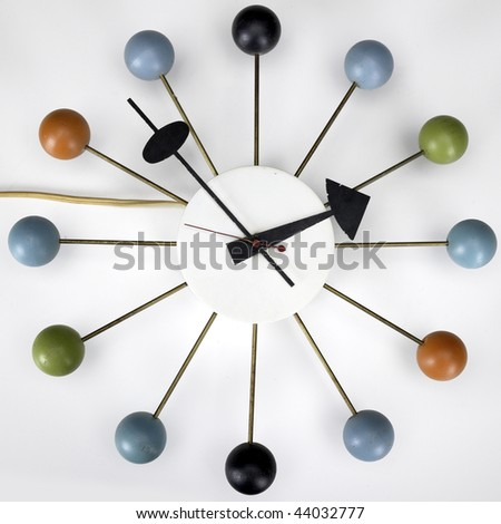 Retro Vintage Kitchen Wall Clock With Multi Colored Balls