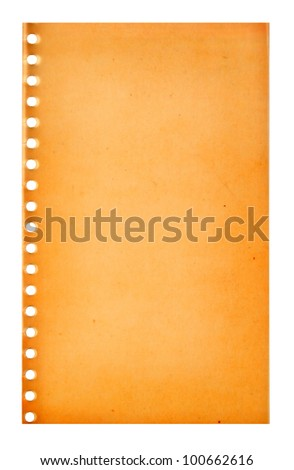 Retro vintage  page ripped off from the notebook - stock photo