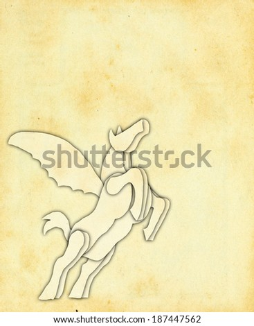 Retro vintage paper cutting ornament of a mythical Pegasus horse.  - stock photo