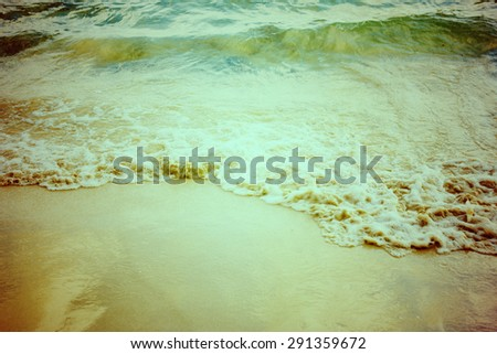 Retro vintage style summer beach sea view with wave. - stock photo