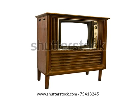 Retro Vintage television  on a white background - stock photo