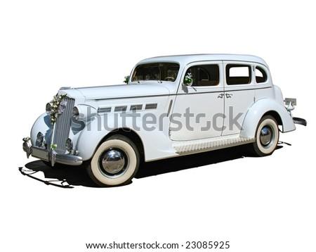 retro vintage white dream wedding car isolated - stock photo