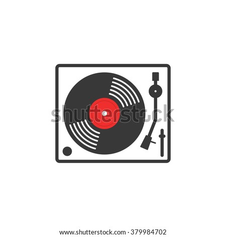 Retro vinyl music player icon, vinyl record player flat outline linear style, record turntable logo, thin line modern emblem design, illustration isolated on white background image - stock photo