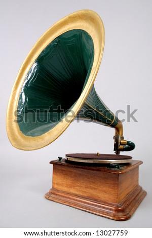 retro vinyl player - stock photo