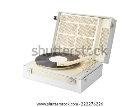 retro vinyl record player - stock photo