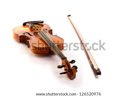retro violin vintage isolated on white background - stock photo