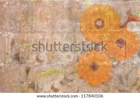Retro wallpaper with orange chrysanthemums - stock photo