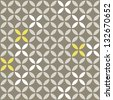 retro white beige yellow leaves shaped elements in rows on gray brown background abstract geometric seamless pattern raster version - stock photo