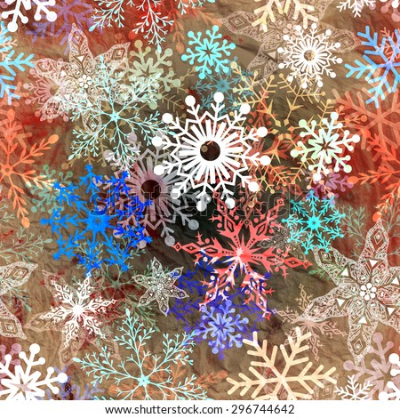 Retro winter watercolor background with different snowflakes  - stock photo