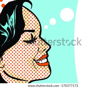 Retro Woman happy and smile - stock photo