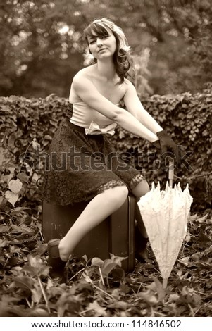 retro woman in garden