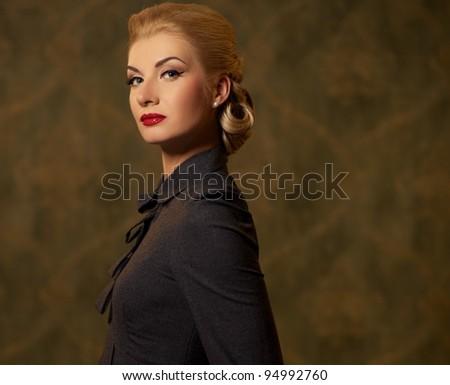 Retro woman in grey dress - stock photo