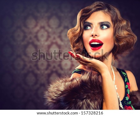 Retro Woman Portrait. Surprised Luxury Lady. Beautiful Woman. Vintage Styled Photo. Old Fashioned Makeup and Finger Wave Hairstyle. 20's or 30's style. Space for your text - stock photo