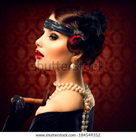 Retro Woman Portrait. Vintage Styled Girl With Cigar. Smoking Lady. Vintage Styled Photo. Old Fashioned Makeup and Finger Wave Hairstyle. 20's or 30's style.  - stock photo