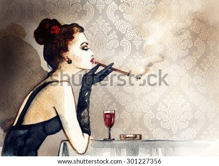Retro woman portrait with cigarette . watercolor illustration - stock photo