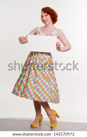 Retro woman, with blank sign, isolated on white