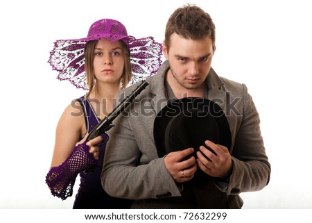 retro Woman with gun overpowered thug, isolated on white - stock photo