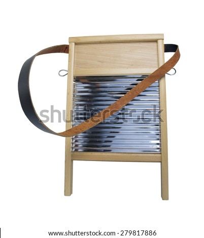 Retro wood and metal washboard with leather strap used to wash clothing - path included