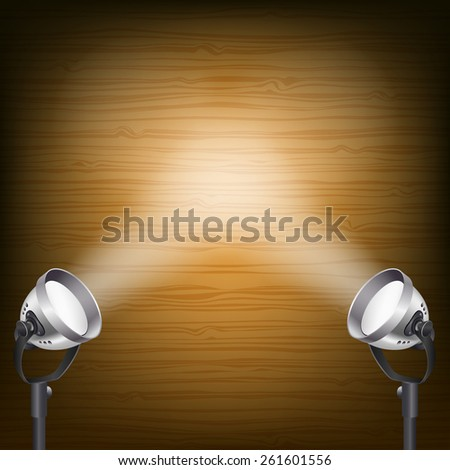 retro wooden background with spot lights - stock photo