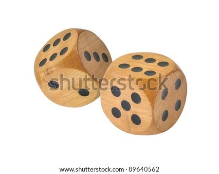 Retro wooden dice, double six - stock photo