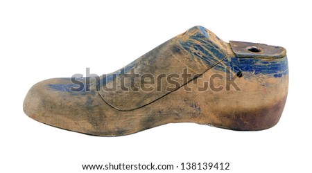 retro wooden shoe production make mold mould form shape used by cobblers isolated on white. - stock photo