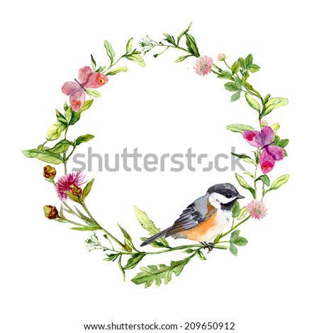Retro wreath border frame with wild herbs, meadow flowers, bird and butterflies. Vintage watercolor - stock photo