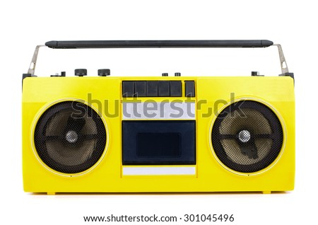 Retro yellow ghetto blaster isolated on white with clipping path - stock photo