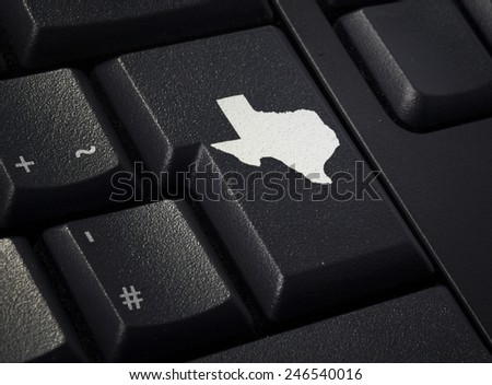 Return key in the shape of Texas.(series) - stock photo
