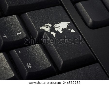 Return key in the shape of the world.(series) - stock photo