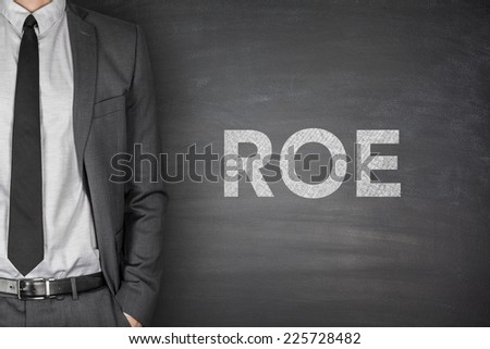 Return on equity on black blackboard with businessman - stock photo