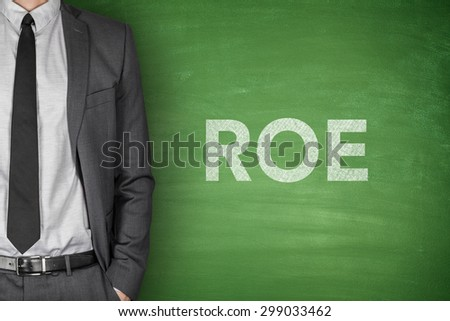 Return on equity on green blackboard with businessman - stock photo