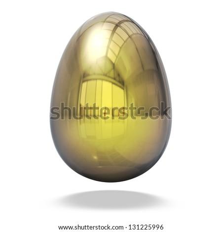 Return on investment concept, Luxury golden egg isolated on white background. - stock photo