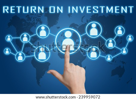 Return on Investment concept with hand pressing social icons on blue world map background. - stock photo
