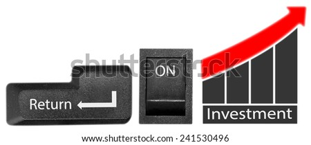 Return on investment represented by a keyboard bottom, on and off button as well as a growth plan. - stock photo