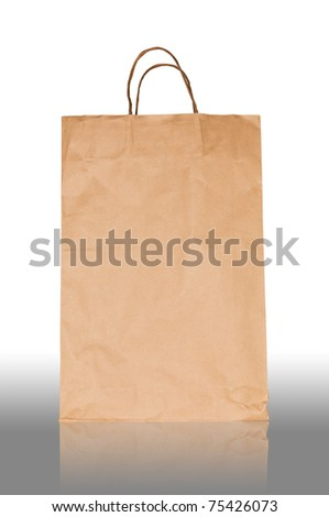 Reusable brown paper bag isolated on white - stock photo