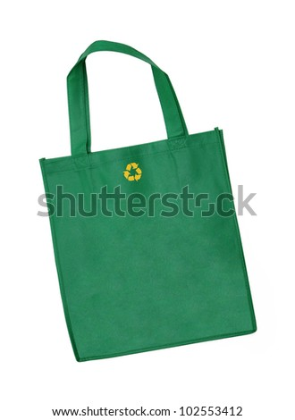 Reusable shopping bag with recycle symbol isolated on white background