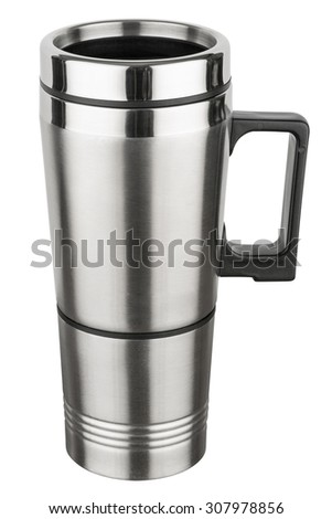 Reusable stainless steel travel thermal mug photographed on a white background.