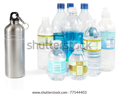 Reusable water bottle instead of piles of disposable plastic water bottles - stock photo