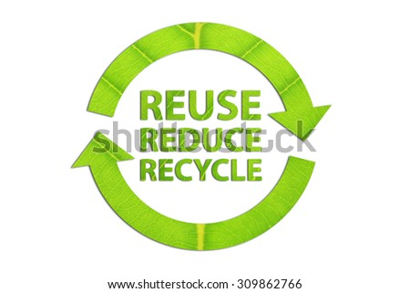 Reuse, Reduce, Recycle concept made from green leaf. - stock photo