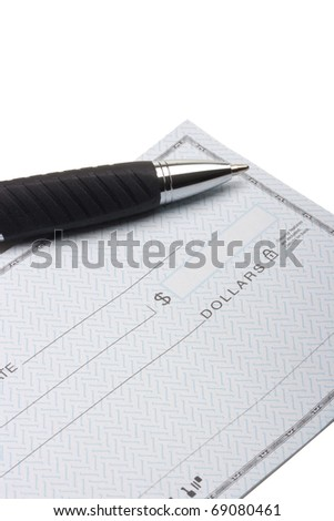 Revealed check book with a pen to fill in check.