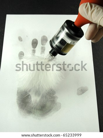revealing the fingerprints with special brush of the marabou stork - stock photo
