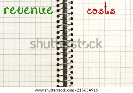Revenue and costs. Check list or reminder concept. - stock photo