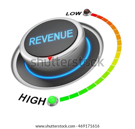 revenue button position. Concept image for illustration of revenue in the highest position , 3d rendering