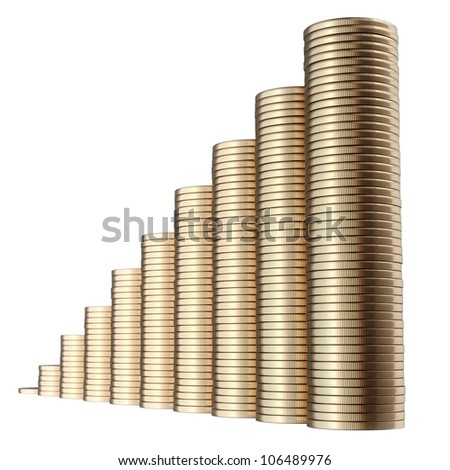 revenue growth in the form of piles of golden coins isolated on white background (second version) - stock photo