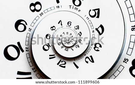 Reverced Twisted clock face. Time concept - stock photo