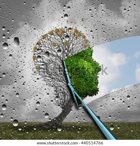 Reverse aging process and make young again medical concept or plastic surgery symbol as a wiper wiping old tree to a healthy human head as a medical icon of renewal with 3D illustration elements. - stock photo