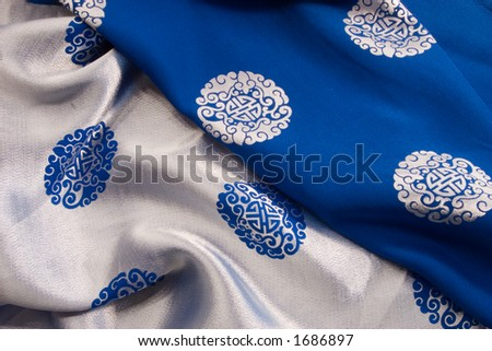 Reverse images of kimono cloth show the differences even within ones own culture. Black and white, right and wrong, no grey. - stock photo